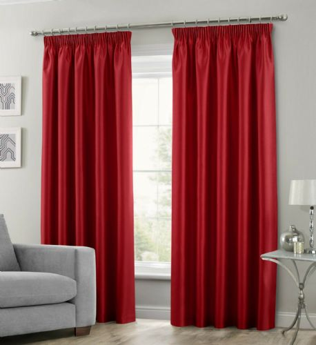 RED COLOUR STYLISH FAUX SILK FULLY LINED PAIR OF CURTAINS